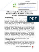 Efficient Single Phase Transformerless Inverter for Grid-Tied PVG System With Reactive Power Control