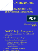 BOM017 Lecture Week 39 Estimating Bugets and Cost 2016