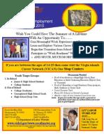 VIDOL Summer Youth Employment Flyer