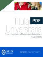 Curso Universitario de Mantenimiento Industrial + 4 Créditos ECTS