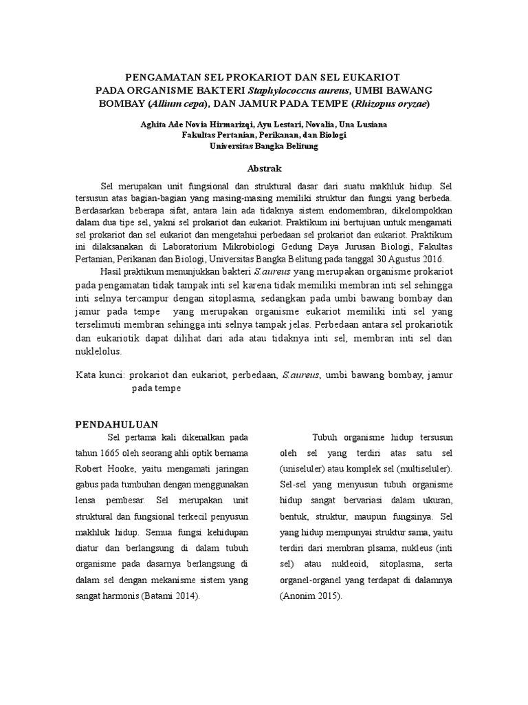 Laporan Praktikum Pengamatan Sel Prokariotik Dan Eukariotik Fasrfriend