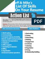 Skills to Put on Resume Action List