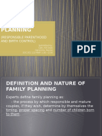 Family Planning( Responsible Parenthood and Birth Control)