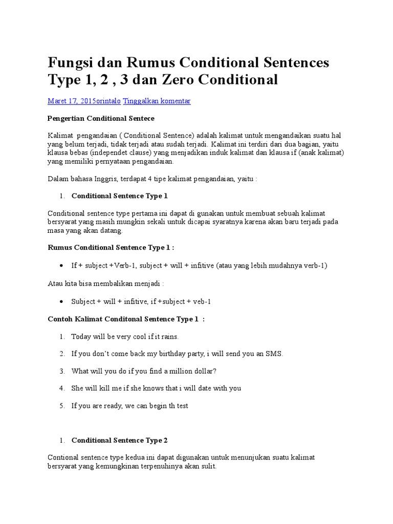 Fungsi Dan Rumus Conditional Sentences Type 1