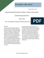 Benign Paroxysmal Positional Vertigo a Review of the Particle Repositioning Manoeuvres