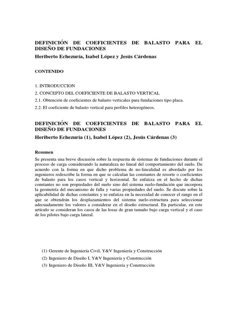 Definición De Coeficientes De Balasto Para El Diseño De