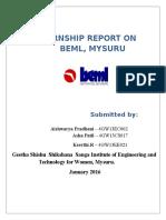 Internship Report on Beml