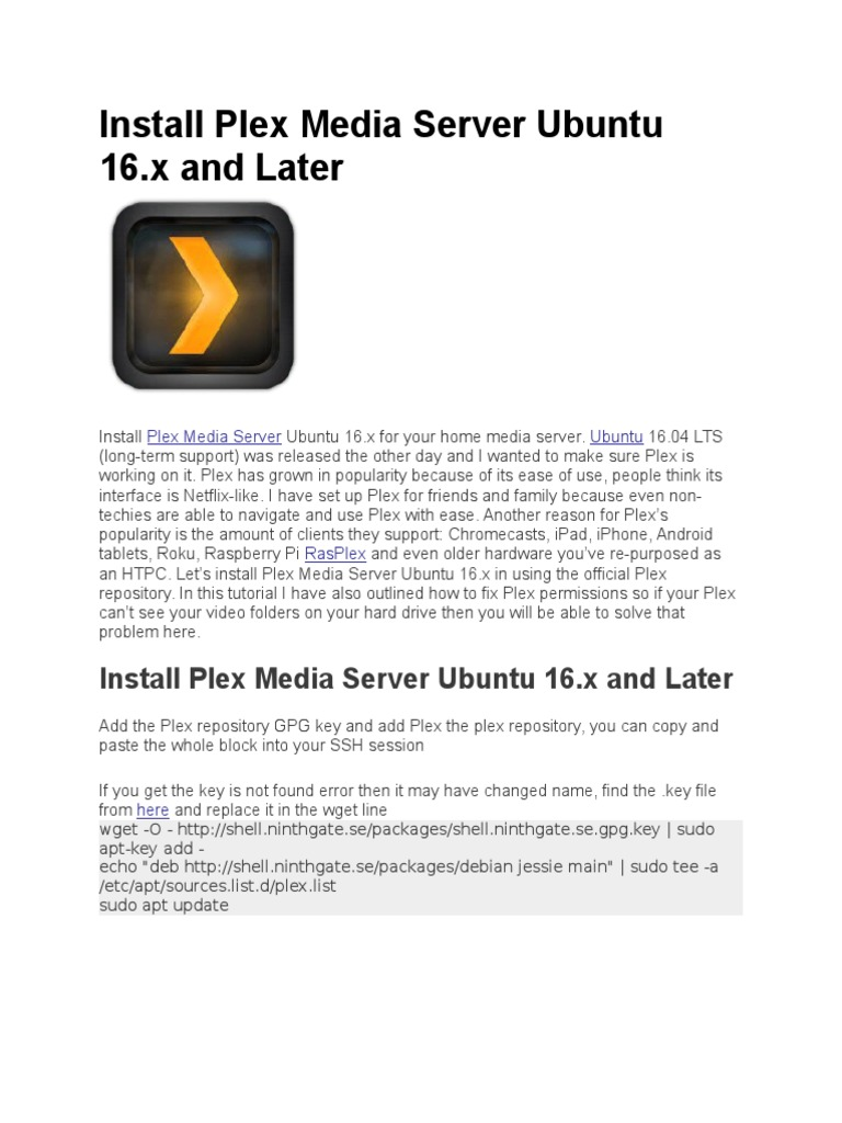 Install Plex Media Server Ubuntu 16 | Ubuntu (Operating