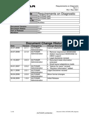 Autosar Srs Diagnostic | Application Programming Interface