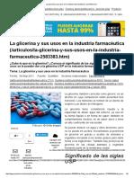 La Glicerina y Sus Usos en La Industria Farmacéutica _ QuimiNet