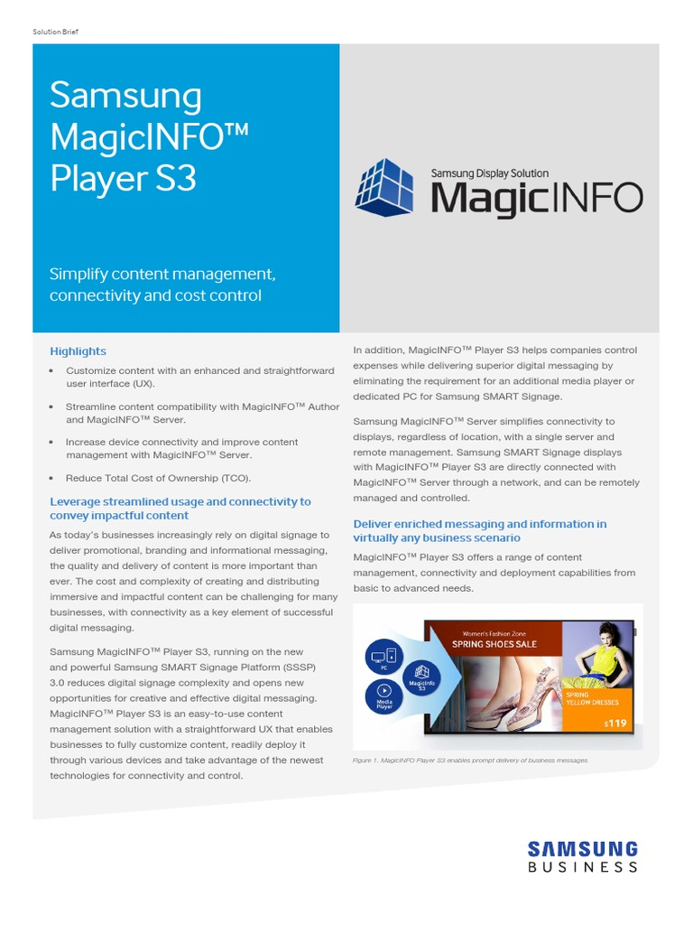 Magicinfo Player s3 Solutionbrief 20151005 | Personal Computers