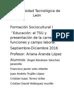 Educación-el TSU y Presentación de La Carrera Funciones y Campo Laboral