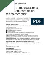 RESUMEN Lectura 1 - Introducción Al Funcionamiento de Un Microordenador