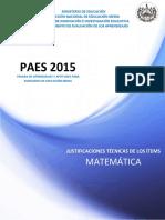 Justificaciones Paes 2015 Matemática