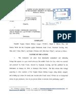 Virginia Citizens Defense League v Katie Couric et al. - Defamation Complaint