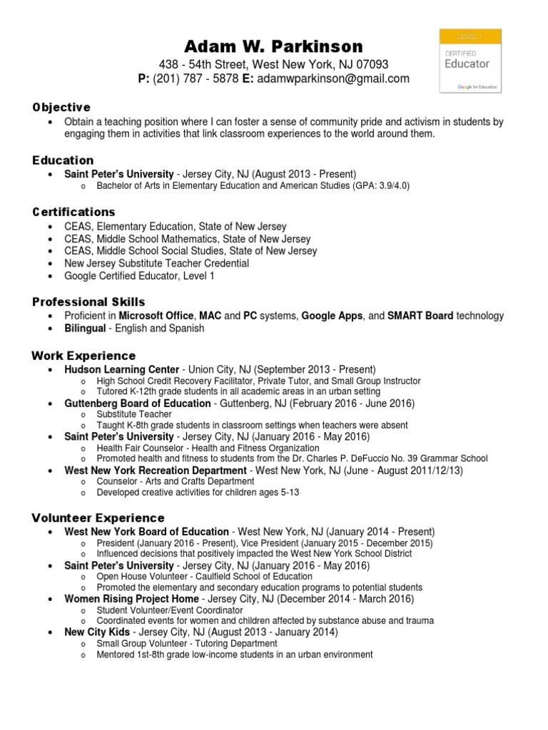 Resume Adam Parkinson Jan 2016 5 New Jersey Primary Education
