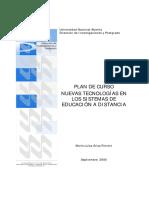 Nuevas Tecnologías en La Educación a Distancia (Plan de Curso - Especialización)