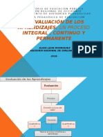 Evaluacion Proceso Integral, Continuo y Permanente