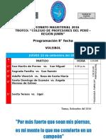 CAMPEONATO MAGISTERIAL 2016-PROGRAMACIÓN VOLEY 8° FECHA