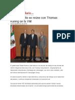 19.09.2016 Reto Diario - Moreno Valle se reúne con Thomas Karing de la VW