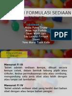 Menyusun Formulasi Sediaan Tablet