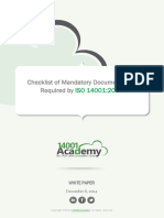 Checklist of ISO14001 Mandatory Documentation En