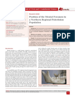 Position of the Mental Foramen in a Northern Regional Palestinian Population