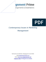 Sample on Contemporary Issues In Marketing Management