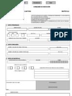 Impreso de matrícula en Educación Secundaria Obligatoria 2010