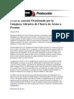 Evita La Silicosis Ocasionada Por La Limpieza Abrasiva de Chorro de Arena a Presión