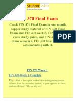 FIN 370 Final Exam &  FIN 370 week 5 final exam - Studentwhiz