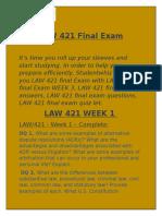 LAW 421 Final Exam | LAW 421 Week 3  @ Studentwhiz