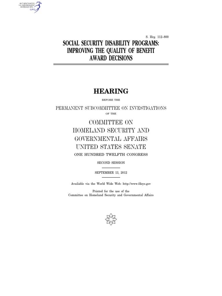 SENATE HEARING, 112TH CONGRESS - SOCIAL SECURITY DISABILITY PROGRAMS