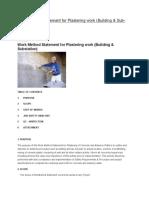 Work Method Statement for Plastering Work