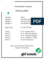 Escoda Memorial Ceremony Programme
