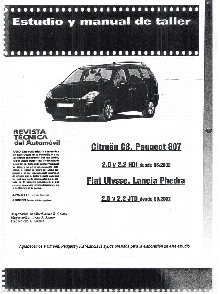 Manual Taller Citroen C8  Peugeot 807  Fiat Ulysse  Y