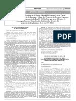 Autorizan la prepublicación en el Diario Oficial y El Peruano y en el Portal Institucional del Ministerio de Energía y Minas del Proyecto de Decreto Supremo que aprueba el Reglamento de la Ley N° 30321 Ley que crea el Fondo de Contingencia para Remediación Ambiental y el texto del proyecto de Reglamento de la Ley N° 30321