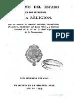 Catecismo del Estado según los principios de la Religión, José Lorenzo VILLANUEVA, 1793