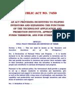 REPUBLIC ACT NO.7459 Incentives to Filipino Investor