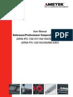 Jofra Ametek Temp Calibrator Rtc,Ptc User Manual