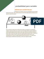 Función de probabilidad para variable discretaprobabilidades