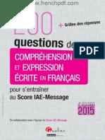 200 Questions de Comprehension Et Expressione
