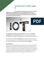 Tecnologías IoT Para 2017 y 2018