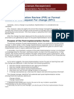 What is Post Implementation Review