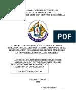 ALTERNATIVAS DE SOLUCIÓN A LAS DIFICULTADES  EN LA CENTRALIZACIÓN DEL SISTEMA INTEGRADO DE LA ADMINSTRACIÓN FINANCIERA DEL SECTOR PÚBLICO EN LA UNIVERSIDAD NACIONAL DE TRUJILLO