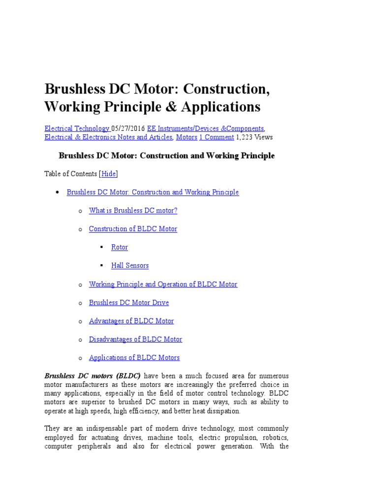 Brushless Dc Motordocx Electric Motor Control Theory Motors Construction Engine Brushes