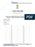 Answer Keys UPSC IAS Pre CSAT Exam Paper 2016 Paper 2 Held on 07-08-2016