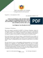 Circular Pública del Sec. Gral. del Cabildo Interreligioso de Colombia - 2016