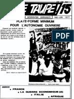 Jeune Taupe 15 Mai-juin 1977