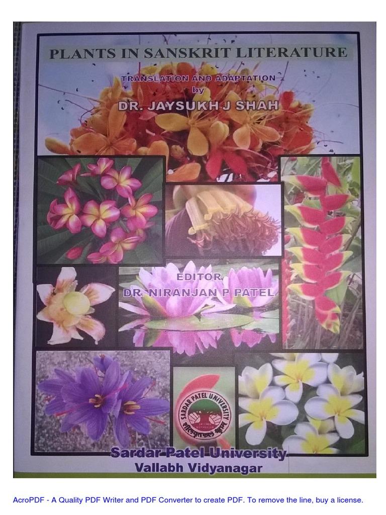E Bookplantsinsanskritliterature Jjshah2015pdf Gujarat